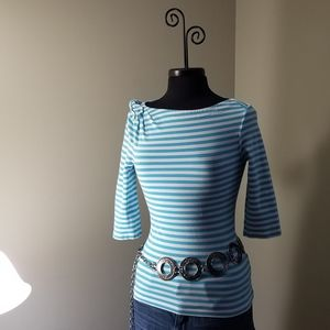 Kate Spade Turquoise & White Stripe Bow 3/4 Sleeve